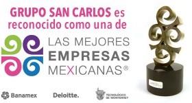 Grupo San Carlos recibe reconocimiento como una de Las Mejores Empresas Mexicanas.